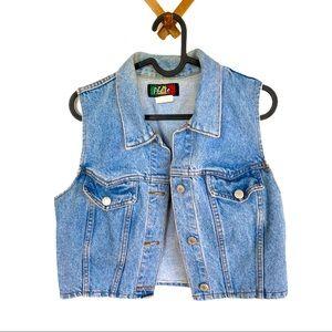 🍋 Vintage 80s Denim Jean Cropped Vest